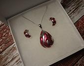 Silver Set Necklace & Hoop Earrings Hoops 925 Sterling Silver Pink I Love Pink Pierced earrings Box Chain