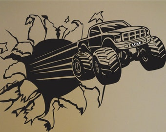 4 x 4 Monster Truck Decal Boys Room Home Decor Sticker Garage Mudder Tough Mudding 4 Wheeler