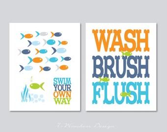 Childrens Kids Bathroom Art Wash, Brush, Flush - Print Set of (2) 5 x 7, 8 x 10 OR 11 x 14 // Orange, Denim, Sky Blue, Lime // Bathroom Art
