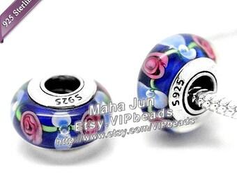 Top High Quality  925 Silver Screw Core Murano Glass Beads  Lampwork European Charm Bead Fits European Charm Bracelets/ ZS004