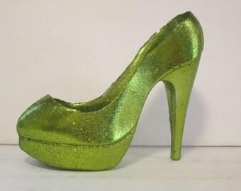 hot lime green metalic avocado stiletto shoe cake topper sugar glass slipper isomalt glitter sparkle