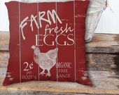 Farm Fresh Eggs on Slatted Fence / Zippered Pillow Art cushion case cover /ADDT'L ships FREE! Indoor or Outdoor 2-Sided 16X16 18X18 20X20
