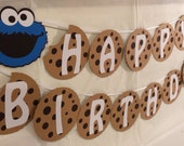 "Sesame Street Cookie Monster Milk and Cookie ""HAPPY BIRTHDAY"" Banner"