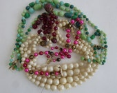 SALE Vintage Necklace Destash Vintage Pearls Glass Beads for Upcycling 1950's Jewelry Collection