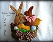 Primitive spring Easter Basket  E pattern Click Your Heels