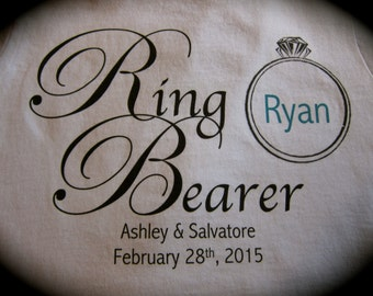 Personalized RING BEARER  t-shirt or one piece wedding getting married bride groom