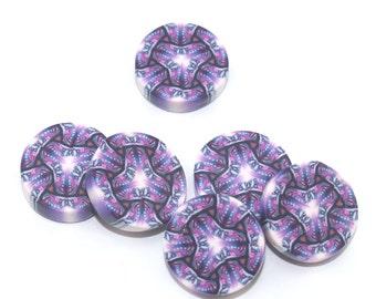 Millefiori beads in pinks, purple and white, Kaleidoscope beads, round flat beads, set of 6 Polymer clay beads