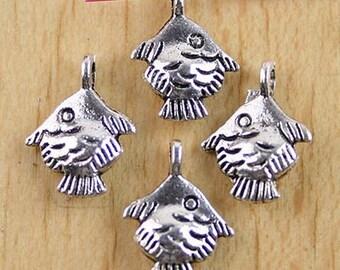 15Pcs Tibetan silver tiny goldfish drops h0062