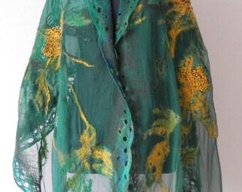 nuno felted silk scarf shawl wrap GREEN MEADOW silk wool scarf, large nuno felt scarf, unique scarf by Kantorysinska