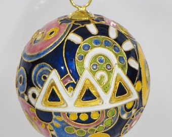 Tri Delta Psychedelic Cloisonne Ornament with 24k gold plating