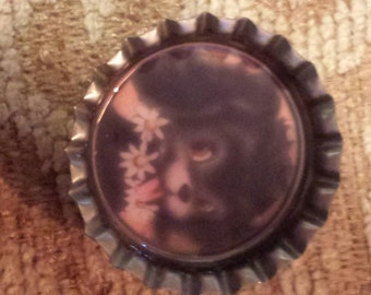 Vintage cute puppy bottlecap magnet
