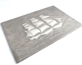 Vintage Mid Century hand made hammered/ repousse/chased/embossed pewter sailing ship plaque/ picture/wall hanging. Nautical interest.