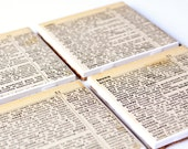 Coasters Ceramic Tile Vintage Dictionary Pages Home Decor Mothers Day Gift 4 inch