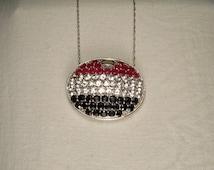 Fabulous 14K White Gold Sapphire Ruby Topaz American Flag Pendant Necklace