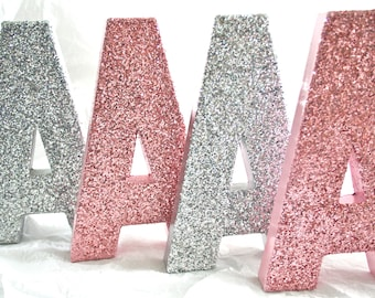 "8"" Tall Glittered Letters Numbers, Wedding, Nursery, Home Party Decor, Self Standing, ANY COLOR, Priced per Letter"