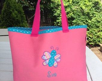 Kids Personalized Pink Canvas Tote with Butterfly Design