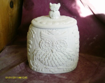 "Byron Owl Cookie Jar / cannister 10"" x 8"" x 3 1/2"" ceramic ready to paint, glazed inside"