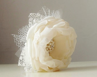 Wrist Corsage,  Wedding Corsage,  Fabric Flower Corsage,  Pearl Bracelet,  Ivory Corsage