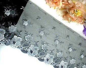 """DN554-8"""" Black Embroidered Tulle Mesh Lace Trim by Yard"""