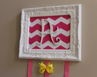 Hot Pink Chevron Monogrammed Hair Bow Holder - Organizer for Hairbows Clips - Shabby Chic Frame Personalized Custom Letter Monogram