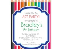 Artist Party Invitation - Rainbow Colored Pencils, Sophisticated Artist, Fun Art Personalized Birthday Party Invite - Digital Printable File