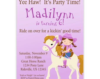 Cowgirl Invitation - Cute Purple Brunette Girl Western Cowgirl and Horse Pony Personalized Birthday Party Invite - a Digital Printable File