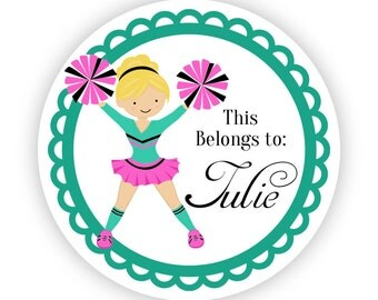 Name Tag Stickers - Turquoise and Pink Girl Cheerleader Personalized Name Label Tag Stickers - 2 inch Round Label Tags - Back to School Name