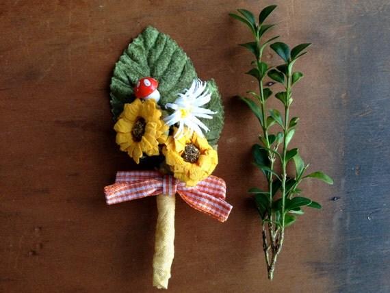 Summer sunflowers daisy mushroom gingham versatile boutineer corsage pin