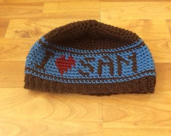 Supernatural inspired I <3 Sam Crochet Beanie