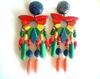 Multicolor Wood Post Earrings Drop Dangle Metal Strung Mardi Gras Fiesta