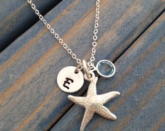 Sterling Silver Starfish Charm Initial Disk Swarovski Crystal Bridesmaids Necklaces beach necklace