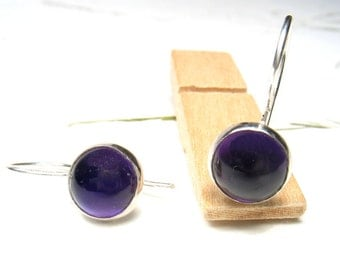Gorgeous Amethyst  ,8mm round stone on sterling silver, dangling, every day earrings.