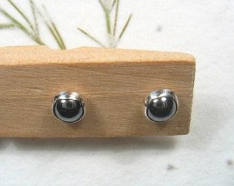 4mm    grey Hematite  cabochon stud earrings set in Sterling silver ,casual earrings, silver post earrings.