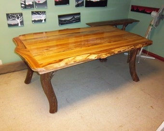 Rustic Hardwood Calico Dining Table Log Cabin Adirondack Furniture by J. Wade,