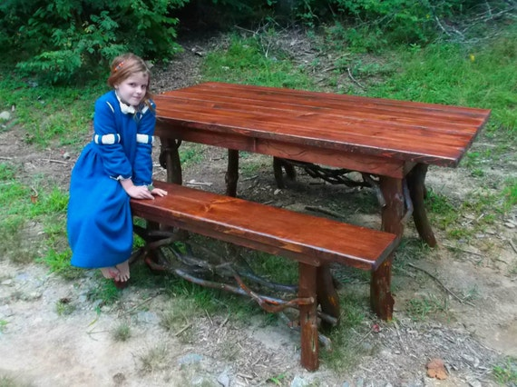 Rustic Red Pine Dining Table And Bench Set Log By