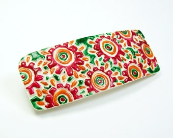 Hippie Look Painted Flowers on this Handmade Polymer Clay Barrette