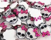 Gothic princess cute sugar skull resin flat back- 5 pc set
