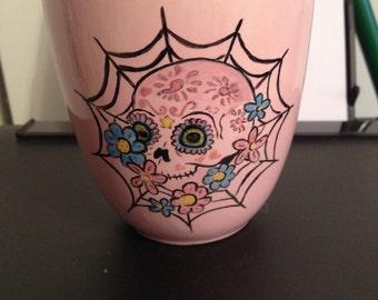 Hand painted sugar skull coffee mug