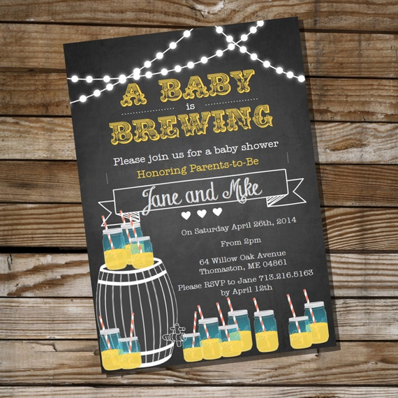 baby is brewing baby shower for a boy or girl bbq invitation, Baby shower invitations