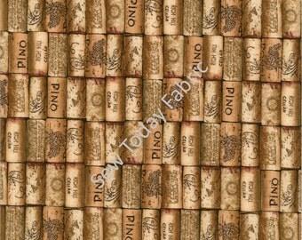 Italian Wine Corks - Italian Vineyards Collection - Elizabeth's Studio 4909-CORK (sold by the 1/2 yard)