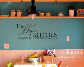 Kitchen wall decal - Cooking up Memories wall decal - Kitchen wall decor - Kitchen wall art - Family wall decal - Custom Family name - art