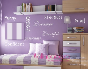 Girls Room Wall Words   Inspirational Motivational Wall Decal   Girls  Bedroom Decal   Nursery Wall Part 57