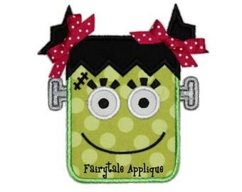 Digital Machine Embroidery Design - Girly Frankenstein Applique