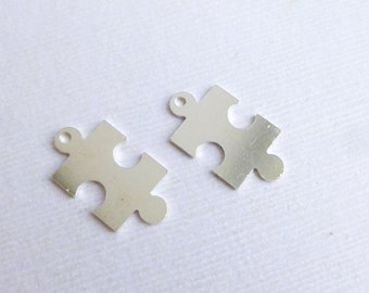 Sterling Silver Puzzle Piece Stamping Blanks -- 2 Pieces --  22g Autism Awareness Charms -- HBSQ517