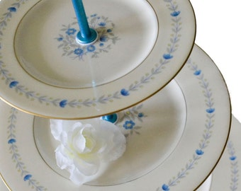 3 Tier Serving Stand  Blue Yellow Floral China 3 Tiered Server Dessert Tray Castleton China Cake Plate Devon