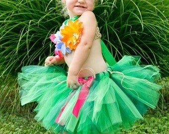 Hawaiian Tutu Dress, Hawaiian Luau Tutu, Hawaiian Tulle Dress, Luau Party Dress, Luau Tutu Set by My Precious Tutu