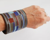 Embroidered Leather Cuff Bracelet with Snap Closure