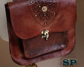 Leather Steampunk Crossbody Satchel- Celtic Fox Medium Brown Body