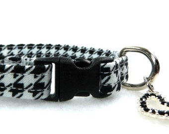 Black and White Cat Collar, Breakaway Buckle, Hounds Tooth Print Collar, Adjustable Cat Collar,