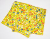 "Vintage 60's Handkerchief Yellow Blue Orange White Floral Design 14"" x 13"""